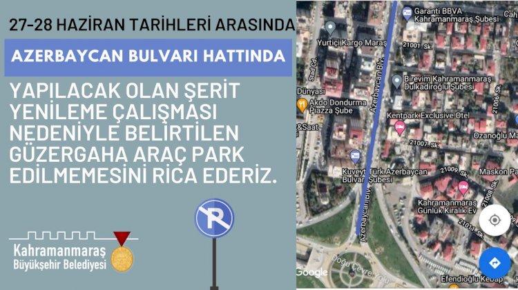 Azerbaycan Bulvarı'nda Araç Parkına 2 Günlük Mola